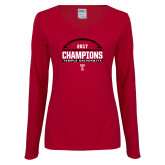 Ladies Cardinal Long Sleeve V Neck T Shirt-Bad Boy Mowers Gasparilla Bowl Champions - Football