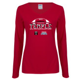 Ladies Cardinal Long Sleeve V Neck Tee-Temple 2018 Independence Bowl
