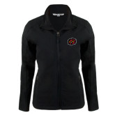 Ladies Black Softshell Jacket-Owl Head