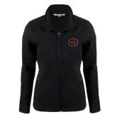 Ladies Black Softshell Jacket-Owl Head