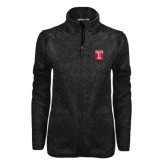 Black Heather Ladies Fleece Jacket-Box T