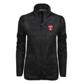 Black Heather Ladies Fleece Jacket-Box T