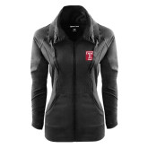 Ladies Sport Wick Stretch Full Zip Black Jacket-Box T