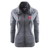 Ladies Sport Wick Stretch Full Zip Charcoal Jacket-Box T