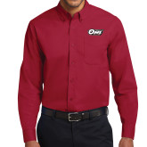 Cardinal Twill Button Down Long Sleeve-Temple Owl Club