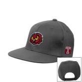 Charcoal Flat Bill Snapback Hat-Owl Head