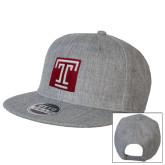 Heather Grey Wool Blend Flat Bill Snapback Hat-Box T