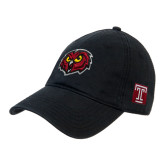 Black Twill Unstructured Low Profile Hat-Owl Head