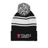 Black/White Two Tone Knit Pom Beanie w/Cuff-University Mark