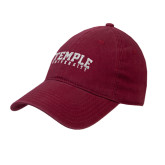 Cardinal Twill Unstructured Low Profile Hat-Arched Temple University