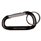 Black Carabiner with Split Ring-Temple University Engraved