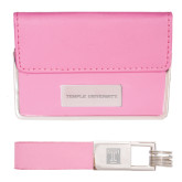 Business Card Case and Key Ring Set Pink-Temple University Engraved