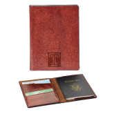 Fabrizio Brown RFID Passport Holder-Box T Engraved