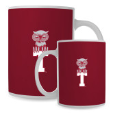 Full Color White Mug 15oz-Vintage Owl Atop T