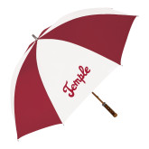 62 Inch Cardinal/White Umbrella-Temple Script
