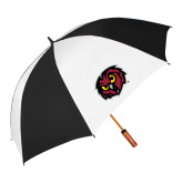 62 Inch Black/White Umbrella-Owl Head