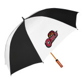 62 Inch Black/White Umbrella-Owls w/Owl Head