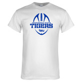 White T Shirt-Tennessee State Tigers Football w/ Vertical Ball