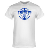 White T Shirt-Tigers Basketball Arched w/ Ball