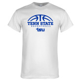 White T Shirt-Tenn State Basketball w/ Half Ball