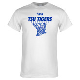 White T Shirt-TSU Tigers Basketball w/ Hanging Net