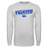 White Long Sleeve T Shirt-Tigers Slanted w/ Logo