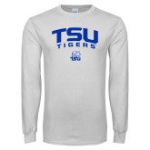 White Long Sleeve T Shirt-Arched TSU Tigers