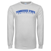 White Long Sleeve T Shirt-Arched Tennessee State University