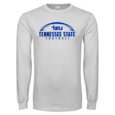 White Long Sleeve T Shirt-Tennessee State Football w/ Ball