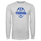 White Long Sleeve T Shirt-Tennessee State Tigers Football w/ Vertical Ball