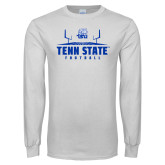 White Long Sleeve T Shirt-Tenn State Football w/ Field