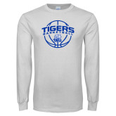 White Long Sleeve T Shirt-Tigers Basketball Arched w/ Ball