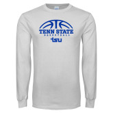 White Long Sleeve T Shirt-Tenn State Basketball w/ Half Ball