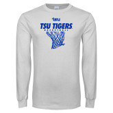 White Long Sleeve T Shirt-TSU Tigers Basketball w/ Hanging Net
