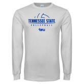 White Long Sleeve T Shirt-Tennessee State Volleyball Half Ball
