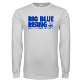 White Long Sleeve T Shirt-Big Blue Rising