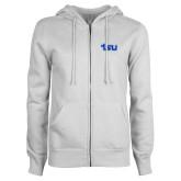 ENZA Ladies White Fleece Full Zip Hoodie-TSU