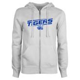 ENZA Ladies White Fleece Full Zip Hoodie-Tigers Slanted w/ Logo