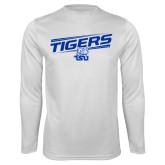 Performance White Longsleeve Shirt-Tigers Slanted w/ Logo