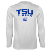Performance White Longsleeve Shirt-Arched TSU Tigers