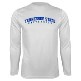 Syntrel Performance White Longsleeve Shirt-Arched Tennessee State University