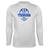 Syntrel Performance White Longsleeve Shirt-Tennessee State Tigers Football w/ Vertical Ball