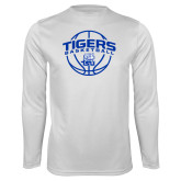 Syntrel Performance White Longsleeve Shirt-Tigers Basketball Arched w/ Ball