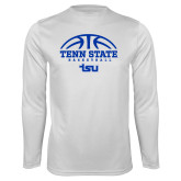 Syntrel Performance White Longsleeve Shirt-Tenn State Basketball w/ Half Ball