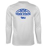 Performance White Longsleeve Shirt-Tenn State Basketball w/ Half Ball