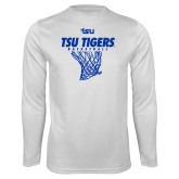 Syntrel Performance White Longsleeve Shirt-TSU Tigers Basketball w/ Hanging Net