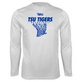 Performance White Longsleeve Shirt-TSU Tigers Basketball w/ Hanging Net