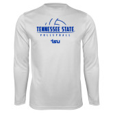 Syntrel Performance White Longsleeve Shirt-Tennessee State Volleyball Half Ball
