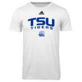 Adidas Climalite White Ultimate Performance Tee-Arched TSU Tigers