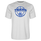 Syntrel Performance White Tee-Tigers Basketball Arched w/ Ball
